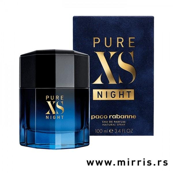 Bočica originalnog parfema Paco Rabanne Pure XS Night pored plave kutije