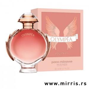 Roze boca parfema Paco Rabanne Olympea Legend pored roze kutije