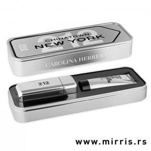 Gel za tuširanje i boca parfema Carolina Herrera 212 Vip Men u sivoj kutiji