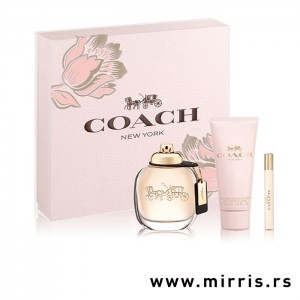 Losion za telo i bočice parfema Coach The Fragrance od 100ml i 7,5 ml pored roze kutije