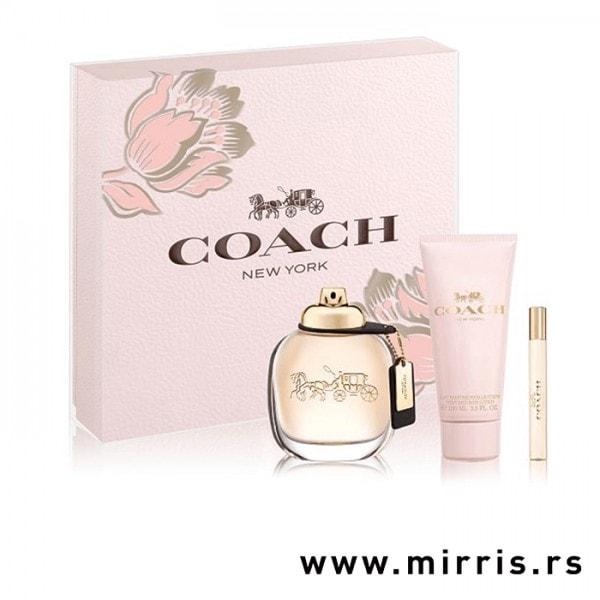 Losion za telo i bočice parfema Coach The Fragrance od 100ml i 7,5 ml pored roze kutije