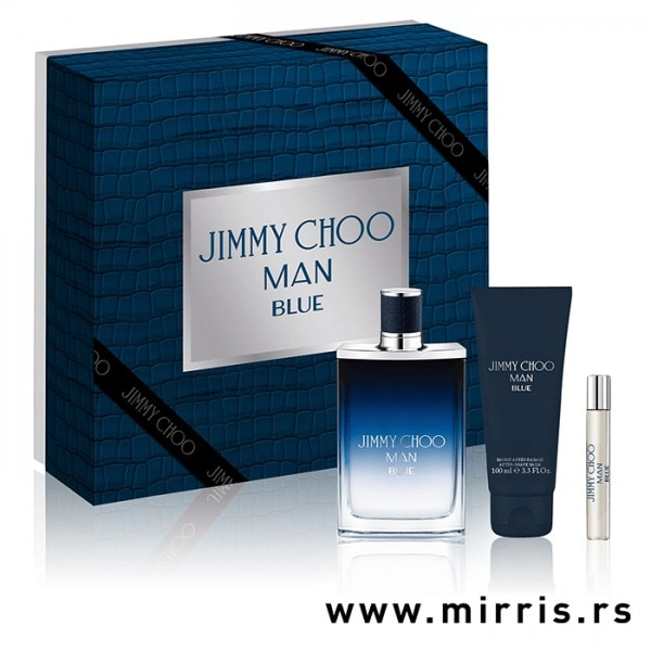 Gel za posle brijanja i bočice parfema Jimmy Choo Man Blue od 100ml i 75ml pored kutije plave boje