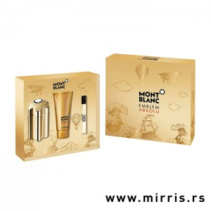 Gel za posle brijanja i bočice parfema Montblanc Emblem Absolu od 100ml i 7,5 ml u kutiji zlatne boje