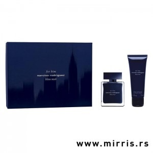 Gel za tuširanje i boca parfema Narciso Rodriguez Bleu Noir For Him pored plave kutije