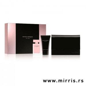 Neseser, losio za telo i bočica parfema Narciso Rodriguez For Her pored originalne kutije
