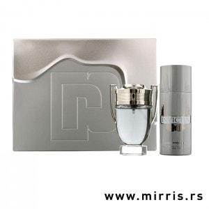 Boca parfema i dezodorans Paco Rabanne Invictus pored sive kutije
