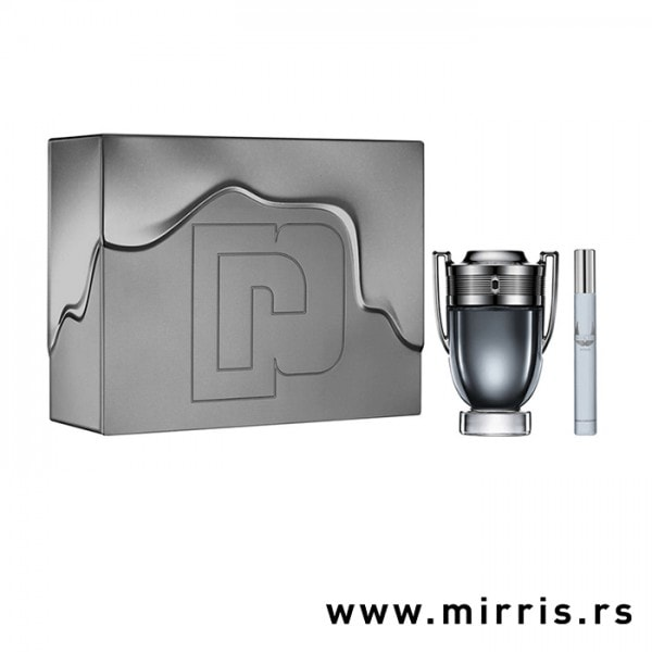 Boce parfemaPaco Rabanne Invictus Intense od 100ml i 10 ml pored sive kutije