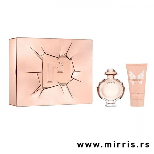 Roze kutija pored boce parfema i losiona za telo Paco Rabanne Olympea