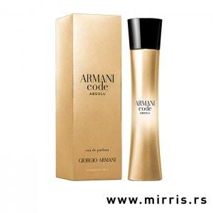 Boca parfema Giorgio Armani Code Absolu For Women zlatne boje pored originalne kutije
