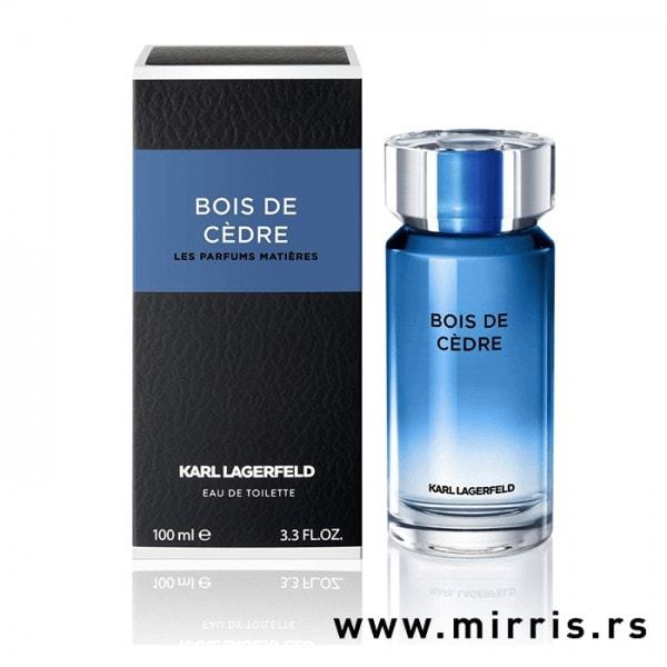 Plava bočica parfema Karl Lagerfeld Bois De Cedre i originalna kutija