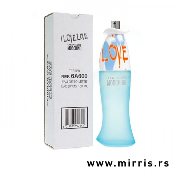 Flašica testera Moschino Cheap & Chic I Love Love pored bele kutije