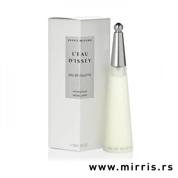 Bočica parfema Issey Miyake L'Eau d'Issey pored bele kutije