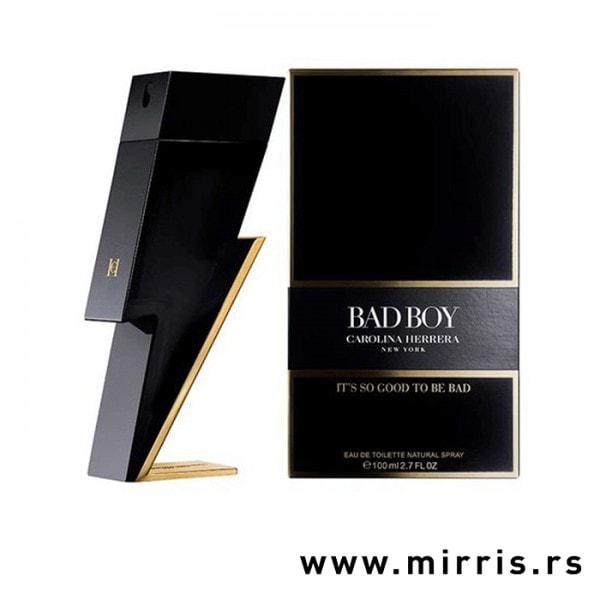 Crna boca parfema Carolina Herrera Bad Boy i kutija crne boje