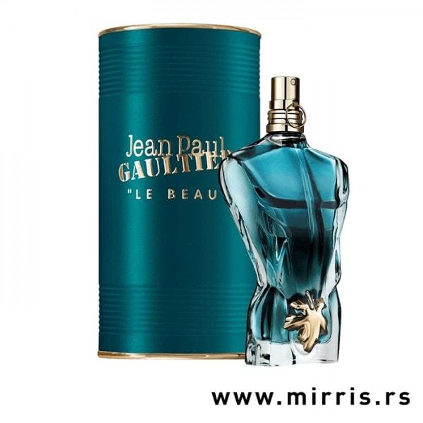 Plava boca parfema Jean Paul Gaultier Le Beau pored plave kutije
