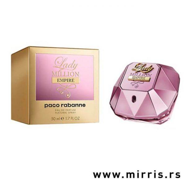 Roze bočica parfema Paco Rabanne Lady Million Empire pored originalne kutije
