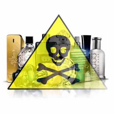 Boce parfema i znak opasnosti žute boje