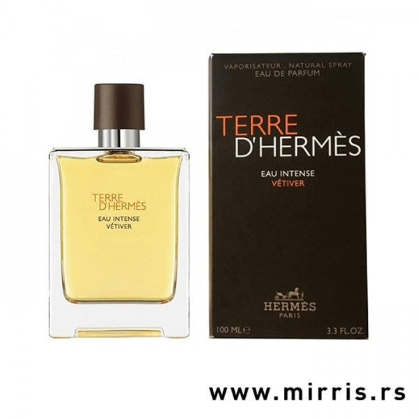 Boca parfema Hermes Terre d'Hermes Eau Intense Vetiver pored kutije