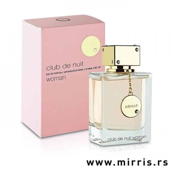 Bočica originalnog parfema Armaf Club de Nuit Women pored roze kutije