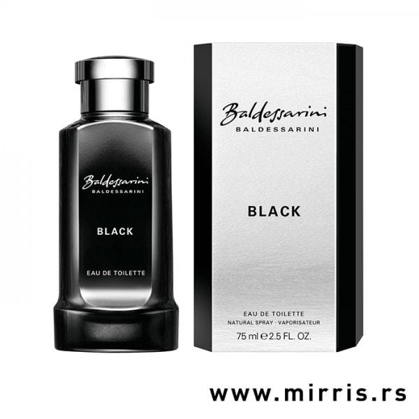 Crna boca parfema Baldessarini Black i kutija sive boje