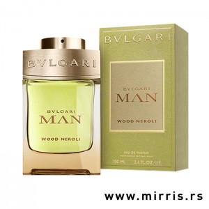 Boca parfema Bvlgari Man Wood Neroli i kutija zelene boje