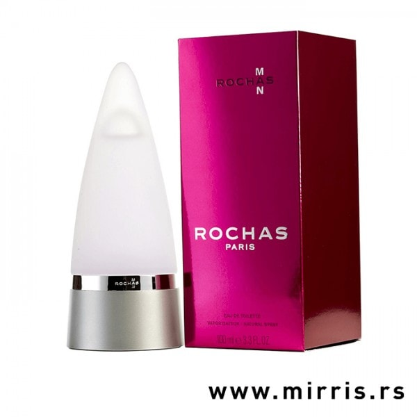 Boca parfema Rochas Man pored kutije ljubičaste boje