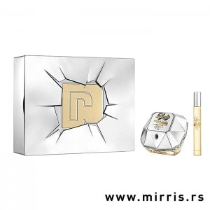 Boca parfema i dekant Paco Rabanne Lady Million Lucky pored kutije