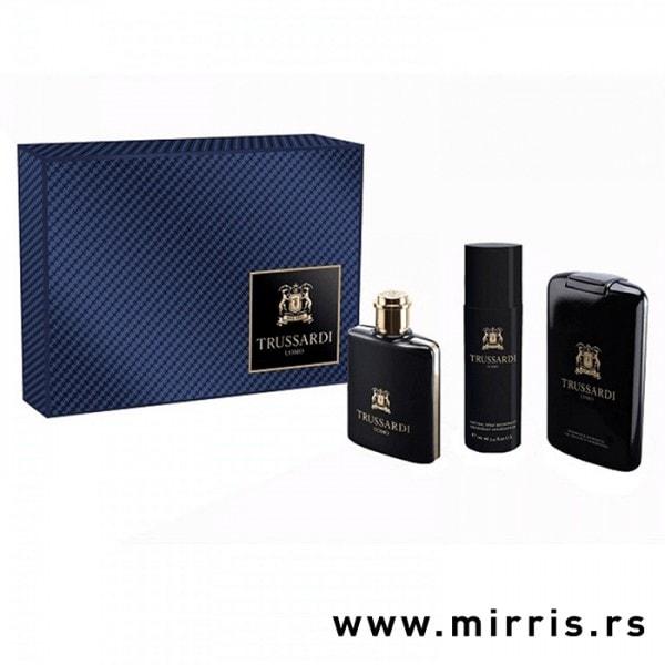 Parfem, gel za tuširanje i dezodorans Trussardi Uomo pored plave kutije