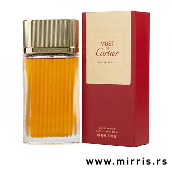Boca parfema Cartier Must Gold i kutija crvene boje