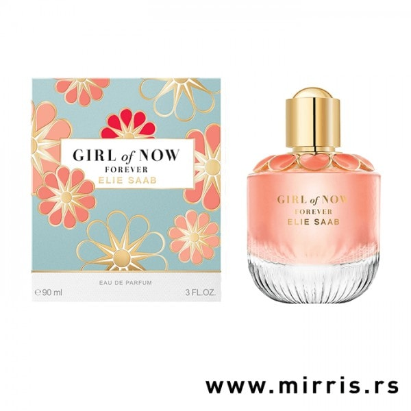 Roze bočica parfema Elie Saab Girl Of Now Forever pored originalne kutije