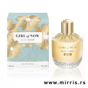 Bočica parfema Elie Saab Girl Of Now Shine zlatne boje pored originalne kutije