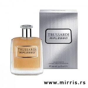 Bočica parfema Trussardi Riflesso pored srebrne kutije