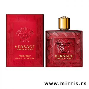 Boca originalnog parfema Versace Eros Flame pored crvene kutije