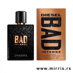 Crna boca parfema Diesel Bad Intense pored originalne kutije