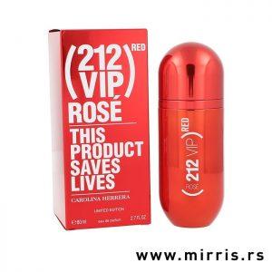 Ženski parfem Carolina Herrera 212 VIP Rose Red pored crvene kutije