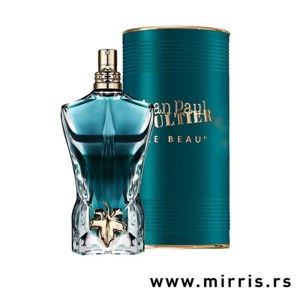 Bočica originalnog parfema Jean Paul Gaultier Le Beau pored plave kutije