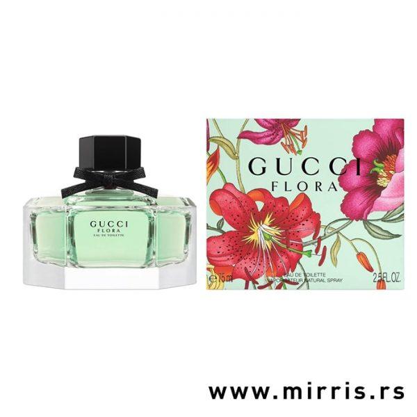Bočica parfema Gucci Flora By Gucci pored originalne kutije