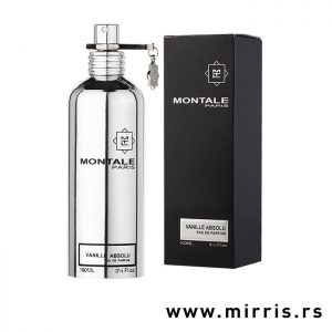 Srebrna bočica parfema Montale Vanille Absolu i crna kutija