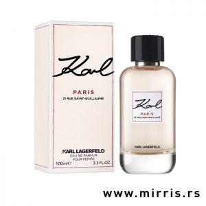 Ženski parfem Karl Lagerfeld Paris pored roze kutije