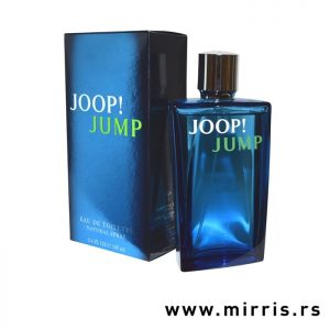 Plava boca parfema i njegova kutija plave boje