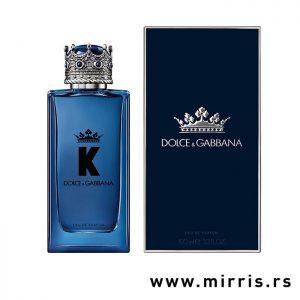Plava bočica muškog parfema Dolce & Gabbana K i tamno plava kutija