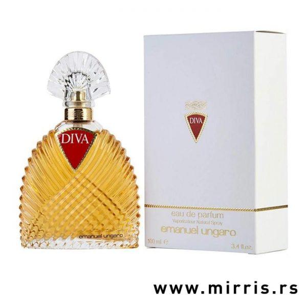 Bočica parfema Emanuel Ungaro Diva pored bele kutije