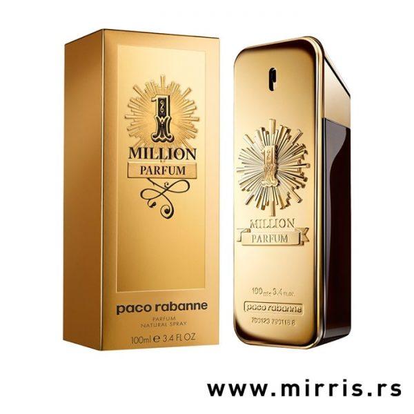 Boca muškog parfema Paco Rabanne One Million Parfum pored kutije zlatne boje