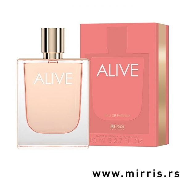 Roza bočica parfema Hugo Boss Alive pored originalne kutije