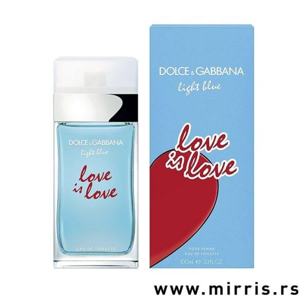 Plava boca parfema Dolce & Gabbana Light Blue Love Is Love pored originalne kutije
