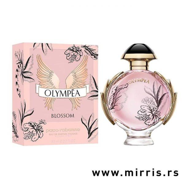 Bočica parfema Paco Rabanne Olympea Blossom pored originalne kutije