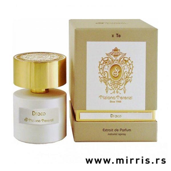 Bočica parfema Tiziana Terenzi Draco pored originalne kutije