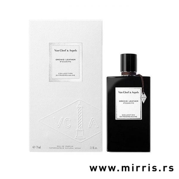 Crna boca parfema Van Cleef & Arpels Orchid Leather pored bele kutije