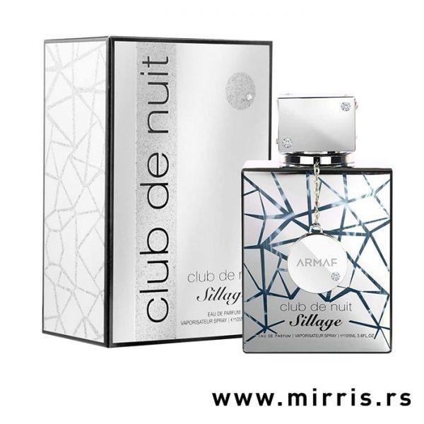 Boca parfema Armaf Club De Nuit Sillage pored sive kutije