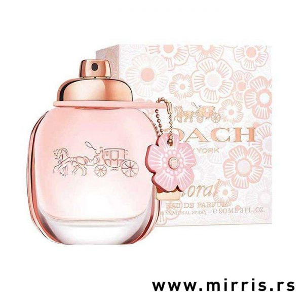 Ženski parfem Coach Floral pored roze kutije