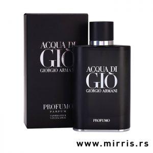 Bočica muškog parfema Giorgio Armani Acqua Di Gio Profumo pored kutije crne boje